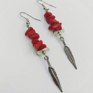 🔴SALE ! Boho sponge coral silver leaf earrings